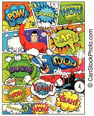 Comic book page divided by lines with speech bubbles, rocket, superhero and sounds effect. Retro background mock-up. Comics template. Vector illustration