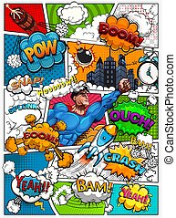 Comic book page divided by lines with speech bubbles, rocket, superhero and sounds effect. Retro background mock-up. Vector illustration