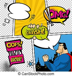 Comic book page divided by lines with speech bubbles, superhero and sounds effect. Retro background mock-up. Comics template. Vector illustration.