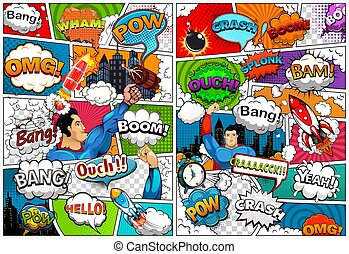 Comic book page template divided by lines with speech bubbles, rocket, superhero and sounds effect. Retro background mock-up. Vector illustration