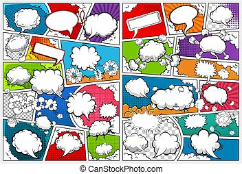 Comic book page template divided by lines with speech bubbles. Vector illustration