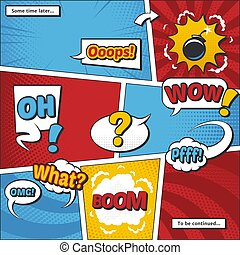 Comic book page vector template with cartoon elements and...