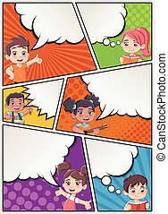 Comic book page with children talking.