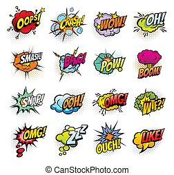Comic book sound blast bubbles cartoon icons