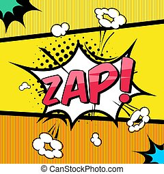 Comic book sound effect ZAP. Template vector.