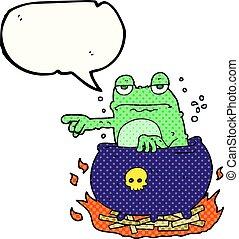 comic book speech bubble cartoon halloween toad - freehand...