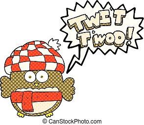 comic book speech bubble cartoon cute owl singing twit twoo