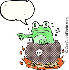 comic book speech bubble cartoon halloween toad in cauldron...