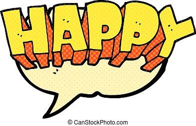 comic book speech bubble cartoon word happy