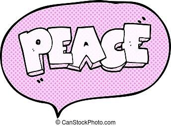comic book speech bubble cartoon word peace