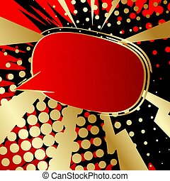 Comic book speech bubble with abstract colorful pattern.