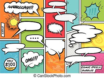 Comic Book Speech Bubbles. A set of colourful and retro...