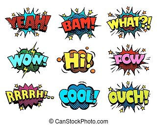 Comic book speech bubbles, cool blast and crash sound...