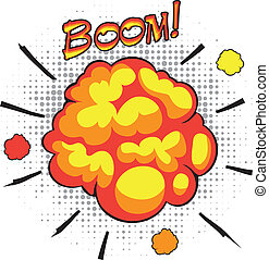 Comic book speech bubbles depicting of sounds explosions...