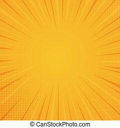 Comic book style background, halftone print texture. Vector illustration on orange background