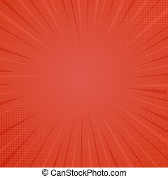 Comic book style background, halftone print texture. Vector illustration on red background