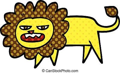 comic book style cartoon angry lion
