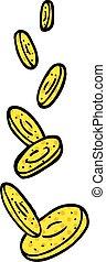 comic book style cartoon falling coins