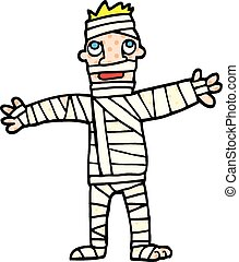 comic book style cartoon man in bandages
