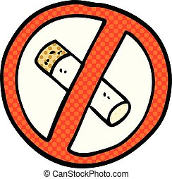 comic book style cartoon no smoking sign