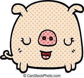 comic book style cartoon pig