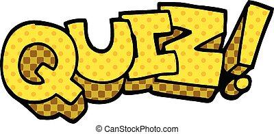 comic book style cartoon quiz sign