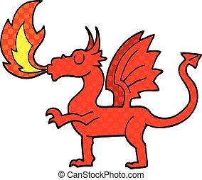 comic book style cartoon red dragon