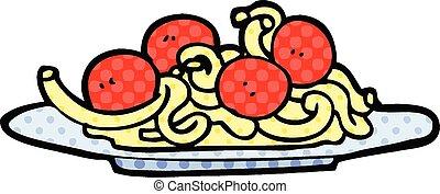 comic book style cartoon spaghetti and meatballs