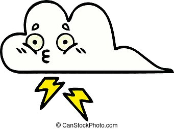 comic book style cartoon thunder cloud