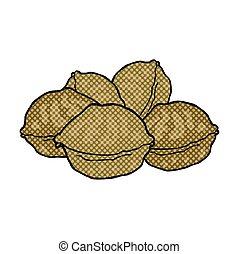 comic book style cartoon walnuts