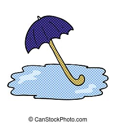 comic book style cartoon wet umbrella