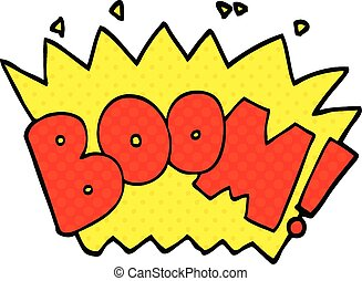 comic book style cartoon word boom