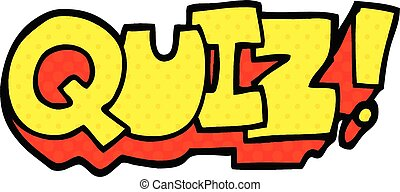 comic book style cartoon word quiz