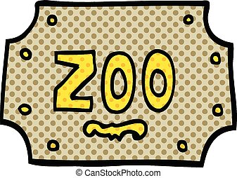 comic book style cartoon zoo sign