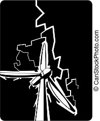 comic book style illustration of a wind turbine struck by lightning during a storm