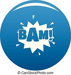 Comic boom bam icon blue vector - Comic boom bam icon vector...