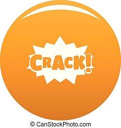 Comic boom crack icon vector orange