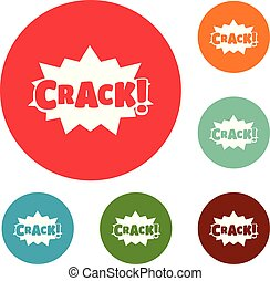 Comic boom crack icons circle set vector