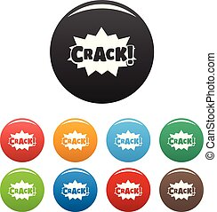 Comic boom crack icons set color vector