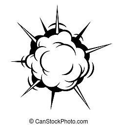 Comic Boom. Black Explosion on White Background. Vector illustration