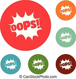 Comic boom oops icons circle set vector