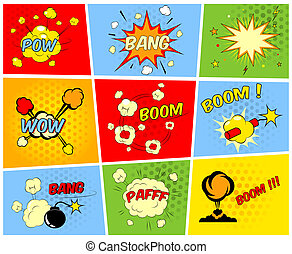 Comic boom or blast explosions - Vector comic boom or blast...