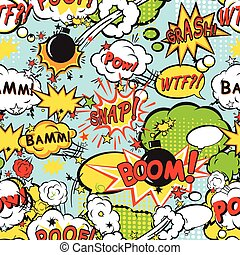 Comic boom seamless pattern - Comic speech bubbles in pop...
