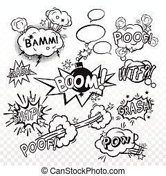Comic boom set - Comic black speech bubbles in pop art style...