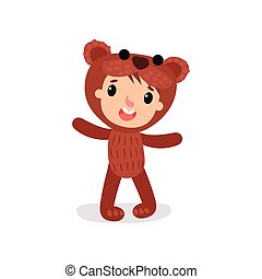 Comic boy or girl character in plush brown bear costume. Child wearing animal carnival jumpsuit. Flat vector design for invitation card, poster, kid project