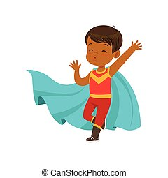 Comic brave kid in superhero red costume with mask and blue...