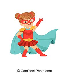 Comic brave kid in superhero red costume with mask on face and developing in the wind blue cloak, posing and waving her hand.