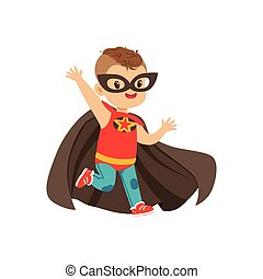 Comic brave kid with trendy haircut in colorful superhero ...