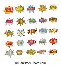 Comic bubble icon set, cartoon style