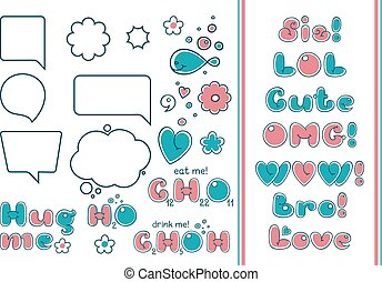 Comic bubble set. Popular phrases and quotes in cartoon...
